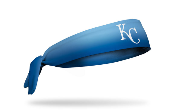 light blue to royal blue gradient heabdand with Kansas City Royals logo in white
