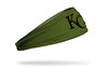 olive green headband with Kansas City Royals logo in black