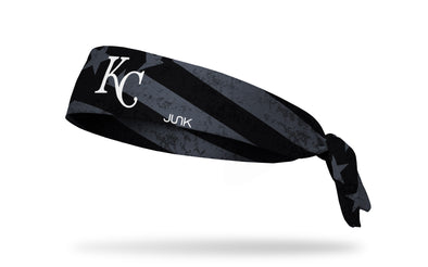 black and white american flag headband with Kansas City Royals logo in full color