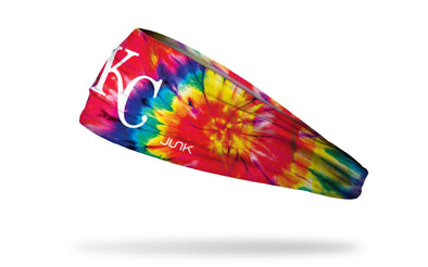 colorful tie dye headband with Kansas City Royals logo in white