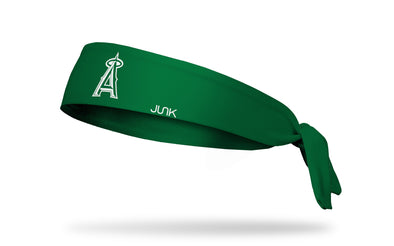 hunter green headband with Los Angeles Angels logo in white