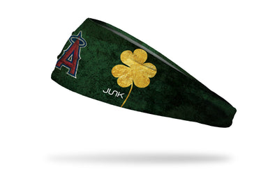green headband with gold shamrock to right of Los Angeles Angels logo
