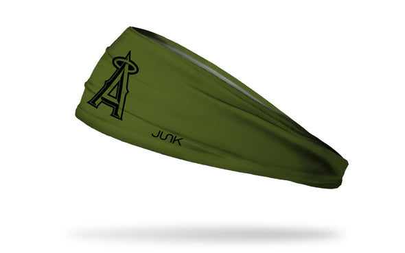 olive green headband with Los Angeles Angels logo in black