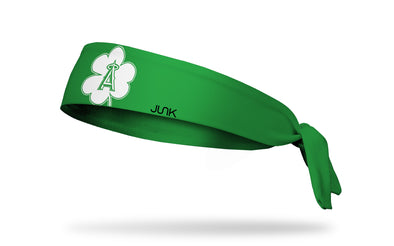 green headband with Los Angeles Angels logo on white shamrock