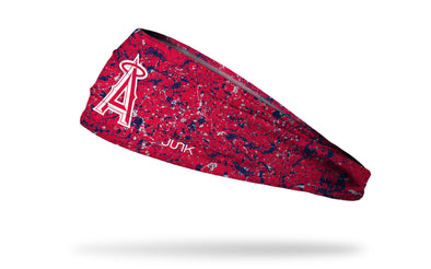 paint splatter headband with Los Angeles Angels logo in white