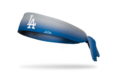 light grey to blue gradient headband with Los Angeles Dodgers logo in white