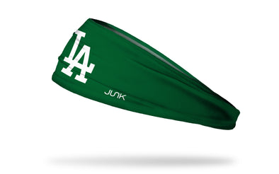 hunter green headband with Los Angeles Dodgers logo in white