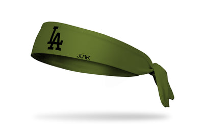 olive green headband with Los Angeles Dodgers logo in black