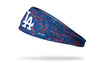 paint splatter headband with Los Angeles Dodgers logo in white