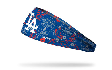 Los Angeles Dodgers hispanic heritage night headband with sugar skull design