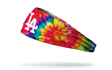 colorful tie dye headband with Los Angeles Dodgers logo in white