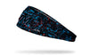 paint splatter headband with Miami Marlins logo in black and teal