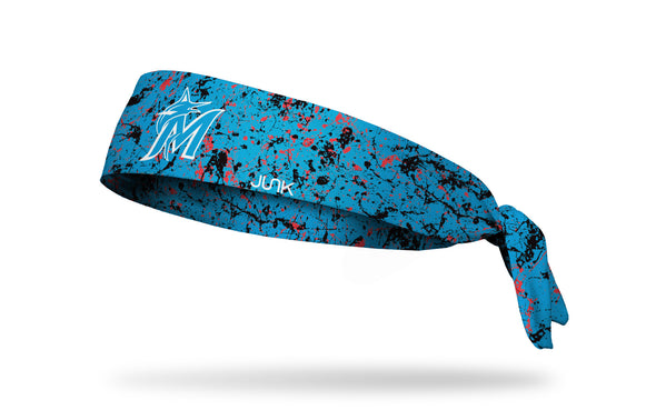 paint splatter headband with Miami Marlins logo in white