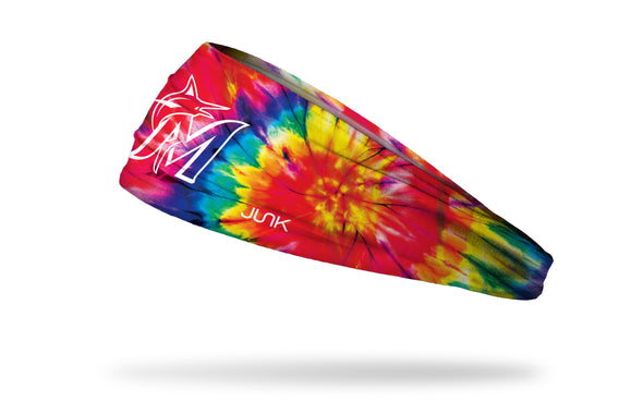 colorful tie dye headband with Miami Marlins logo in white