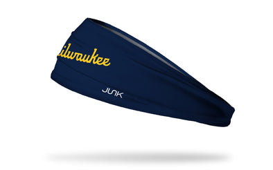 navy headband with Milwaukee Brewers yellow word logo