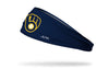 navy headband with Milwaukee Brewers ball and glove logo