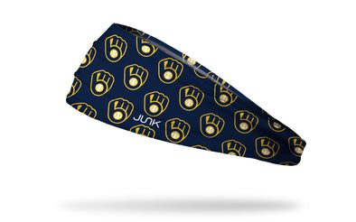 navy headband with yellow Milwaukee Brewers logo repeating