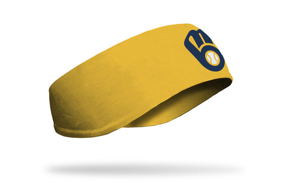 yellow ear warmer with Milwaukee Brewers navy logo