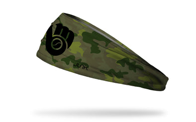green Camo headband with Milwaukee Brewers logo in black