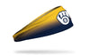 yellow to navy gradient headband with Milwaukee Brewers logo in white