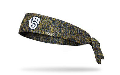 static headband with Milwaukee Brewers logo in white