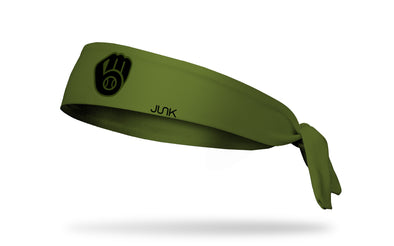 olive green headband with Milwaukee Brewers logo in black