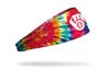 colorful tie dye headband with Milwaukee Brewers logo in white