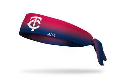 red to navy gradient headband with Minnesota Twins logo in white