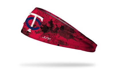 grunge overlay headband with Minnesota Twins logo in white
