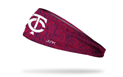 static headband with Minnesota Twins logo in white