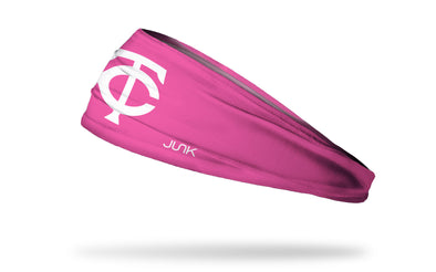 Pink headband with minnesota twins logo in pink