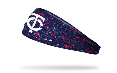 paint splatter headband with Minnesota Twins logo in white