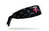 black and white american flag headband with Minnesota Twins logo in full color
