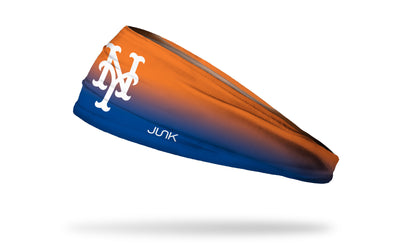 orange to blue gradient headband with New York Mets logo in white