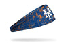 paint splatter headband with New York Mets logo in white