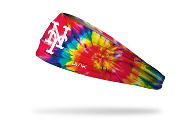colorful tie dye headband with New York Mets logo in white