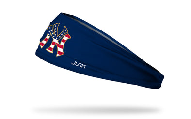 navy headband with New York Yankees N Y logo in american flag print red white and blue