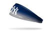 navy blue to light gray gradient headband with New York Yankees logo in white