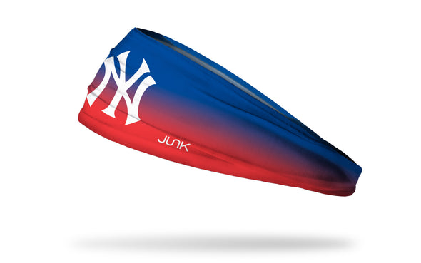 blue to red gradient headband with New York Yankees logo in white