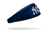 grunge overlay headband with New York Yankees logo in white