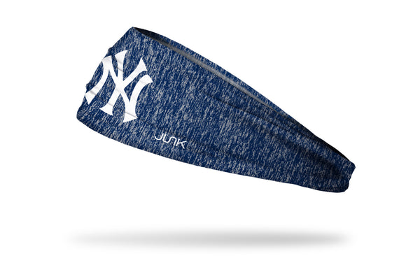 static headband with New York Yankees logo in white