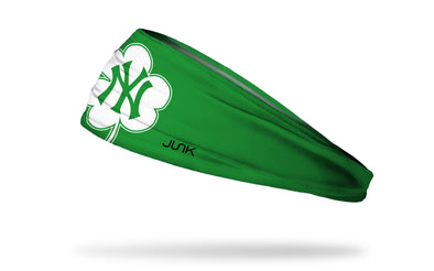 green headband with New York Yankees logo on white shamrock