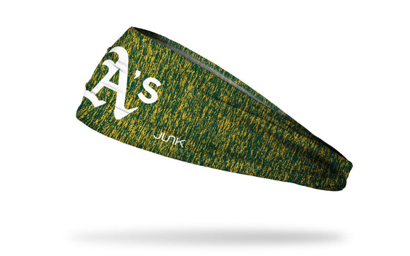 static headband with Oakland Athletics logo in white