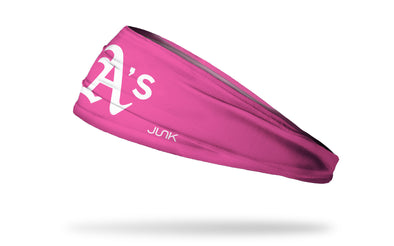 Pink headband with oakland athletics logo in pink