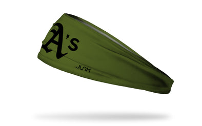 olive green headband with Oakland A's logo in black