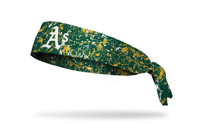 paint splatter headband with Oakland Athletics logo in white