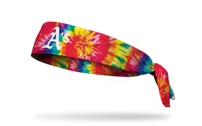 colorful tie dye headband with Oakland A's logo in white