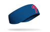blue ear warmer with Philadelphia Phillies P logo in red with white outline