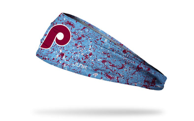 paint splatter headband with Philadelphia Phillies logo in white