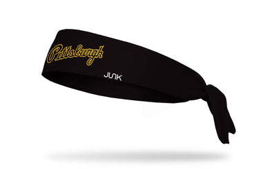 black headband with Pittsburgh Pirates Pittsburgh script in yellow and black